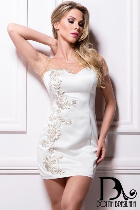 Vestido Pérolas OFF WHITE