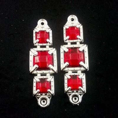 Quadrado Prata/Vermelho ABS 038