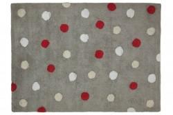 Tapete Cinza com bolas vermelha, branca e bege, modelo C-TT-3 1