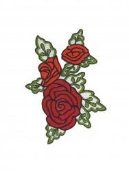 Patch Rosas Bordado no Tecido 3D 2