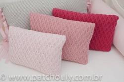 Almofada Retangular de Tricot Aran Rosa Pastel 5