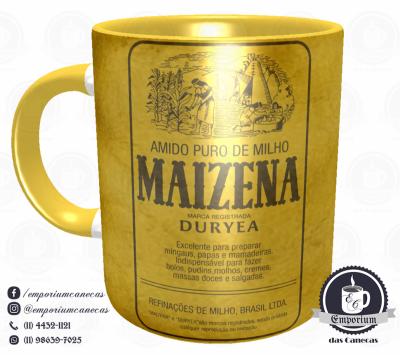 Caneca Vintage - Marcas Inesquecíveis - Maizena (Interior Amarelo) - Porcelana 325 ml