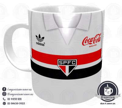 Caneca São Paulo FC - Camisa 1989 Branca - Porcelana 325 ml