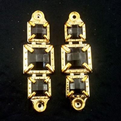 Quadrado Dourado/Preto ABS 043