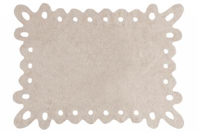 Tapete retangular vazado na cor bege, modelo C-00008
