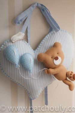 Enfeite de porta Urso Azul com Balão 3