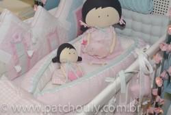 Ninho para bebê Listrado Rosa e Malva 1