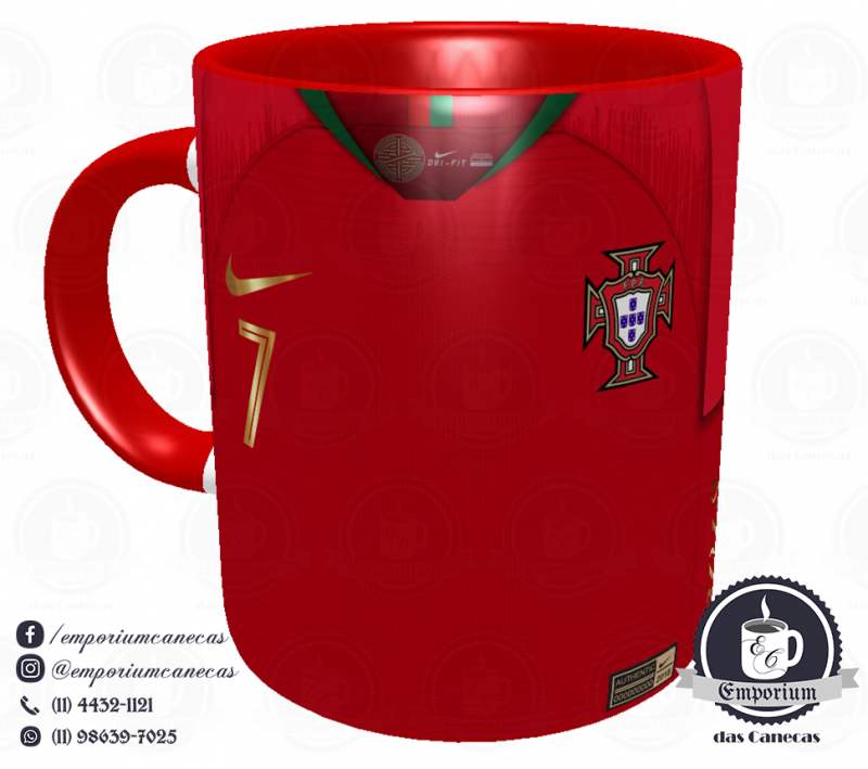 Caneca Portugal - Camisa Copa do Mundo 2018 - Porcelana 325 ml
