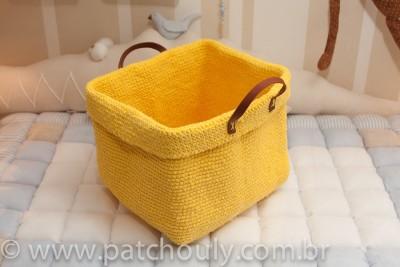 Cestinho de Crochet Grande - Amarelo Forte