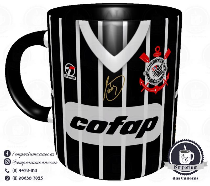 Caneca Corinthians - Camisa 1983 Sócrates - Democracia Corinthiana (Listrada) - Porcelana 325 ml