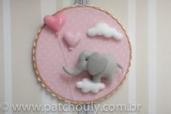Enfeite de porta Elefante Rosa com Coração 1