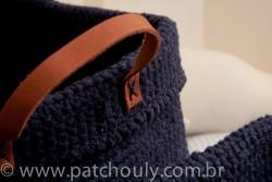 Cestinho de Crochet Grande - Azul Marinho 2