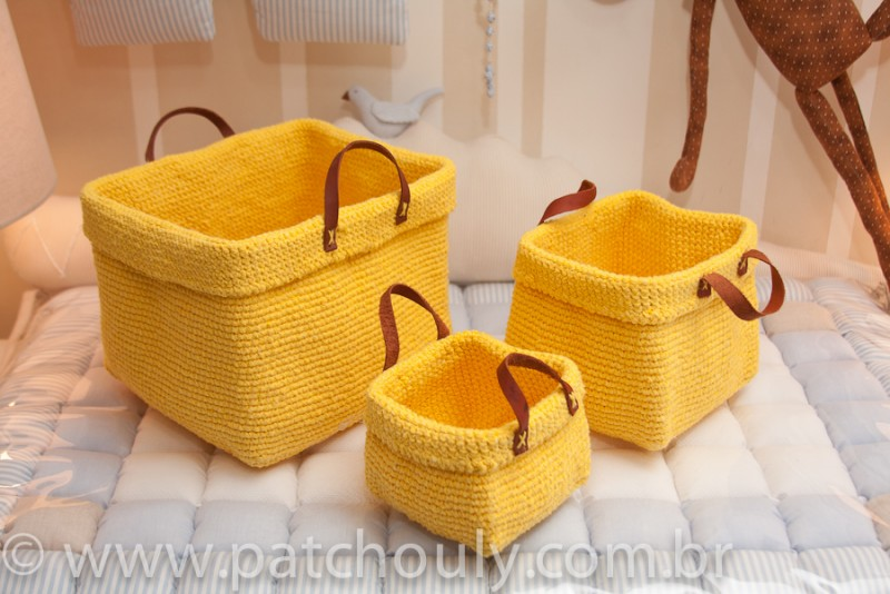Kit Cestinho de Crochet Amarelo Forte