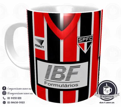 Caneca São Paulo FC - Camisa 1992/93 Bi-Libertadores Listrada - Porcelana 325 ml