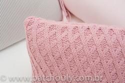 Almofada Retangular de Tricot Aran Rosa Cravo 4