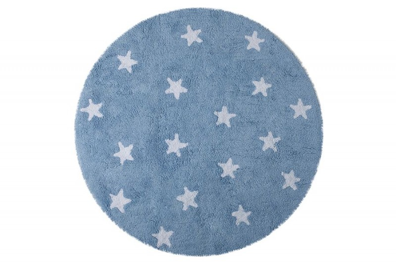 Tapete Redondo na cor Azul com Estrela Branca, Modelo C-10002