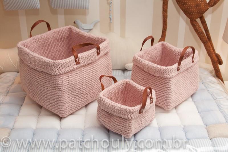 Kit Cestinho de Crochet Rosa Bebê