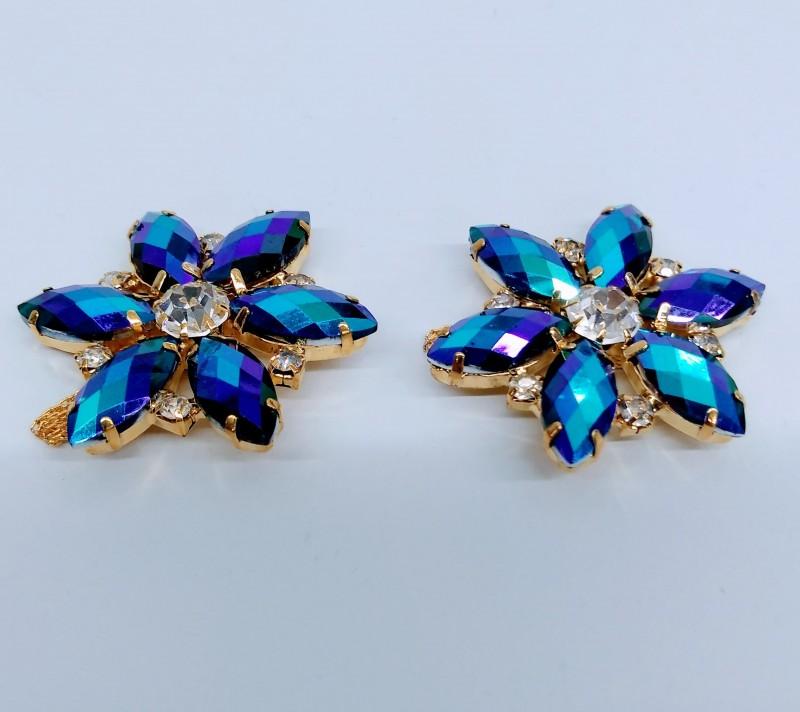 Flor Luxo Boreal Azul Retro