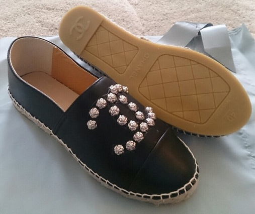 e0f7b36e7 ... Chanel Espadrilles CC Camellia Black Lambskin Leather 3 ...