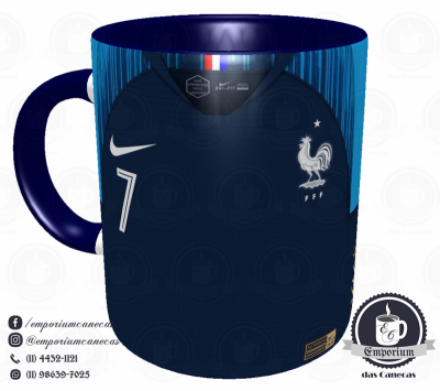 Caneca França - Camisa Copa do Mundo 2018 - Porcelana 325 ml