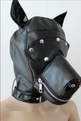 Mascara de Cachorro em Couro Preto 3