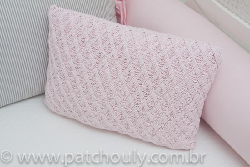Almofada Retangular de Tricot Aran Rosa Pastel