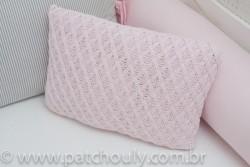 Almofada Retangular de Tricot Aran Rosa Pastel 1