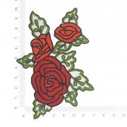 Patch Rosas Bordado no Tecido 3D 3