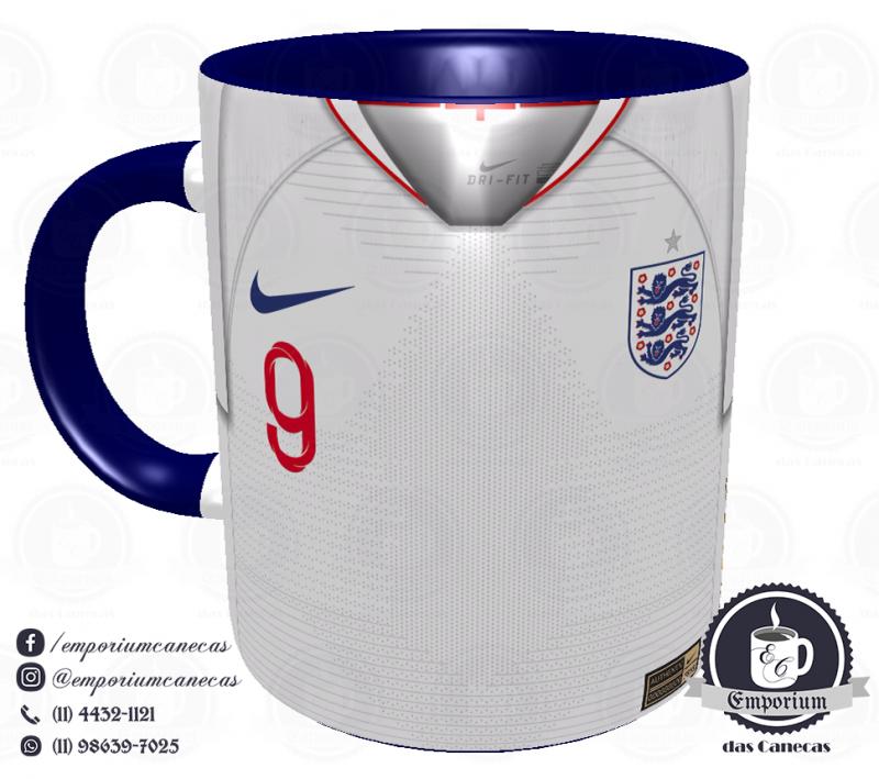 Caneca Inglaterra - Camisa Copa do Mundo 2018 - Porcelana 325 ml