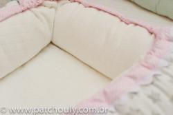 Ninho para Bebê Branco com Estrelas Cinza com Rosa 3