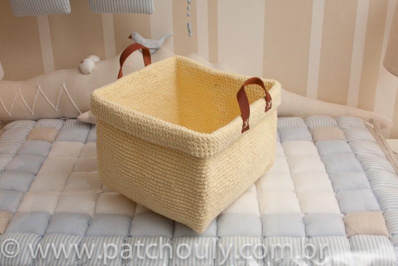 Cestinho de Crochet Grande - Amarelo Claro