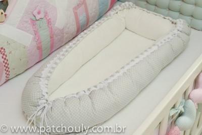 Ninho para Bebê Cinza com Estrelas Brancas