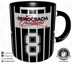 Caneca Corinthians - Camisa 1983 Sócrates - Democracia Corinthiana (Listrada) - Porcelana 325 ml 3