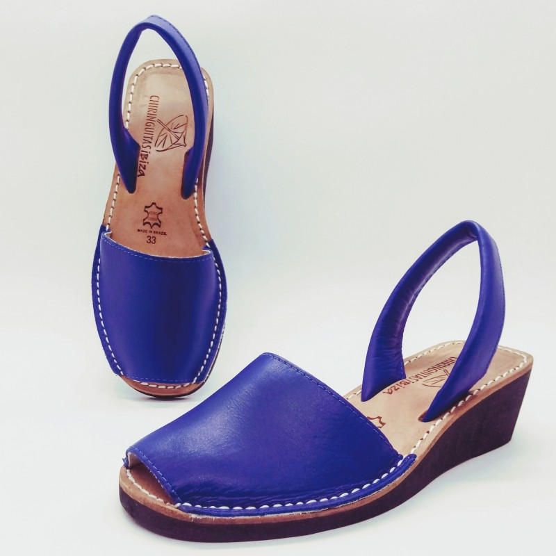 Anabela Couro Azul 33