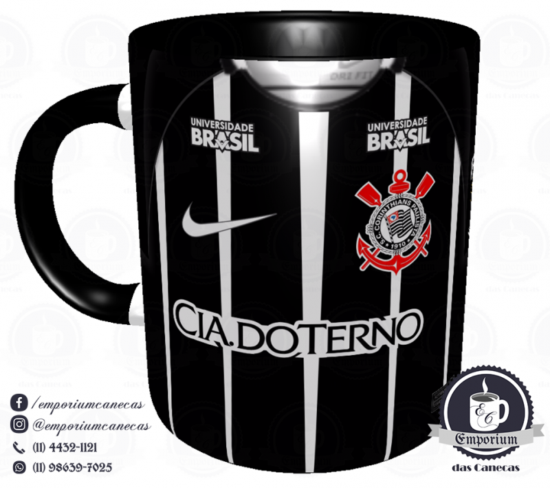 Caneca Corinthians - Camisa 2017 Away - Porcelana 325ml
