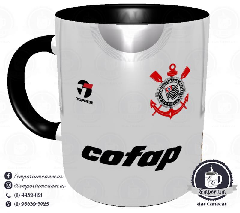 Caneca Corinthians - Camisa 1983 Sócrates - Democracia Corinthiana - Porcelana 325 ml