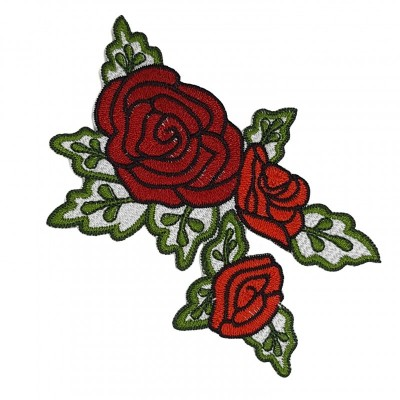Patch Rosas Bordado no Tecido 3D