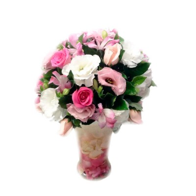 Rosas e Lisiantus em Tons Rosado no Vaso de Vidro