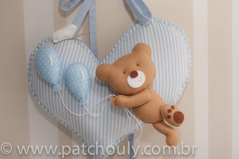 Enfeite de porta Urso Azul com Balão