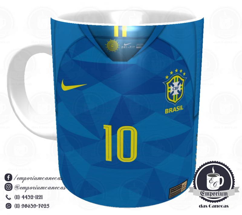 Caneca Selecao Brasileira - Camisa 2018 Away - Porcelana 325 ml