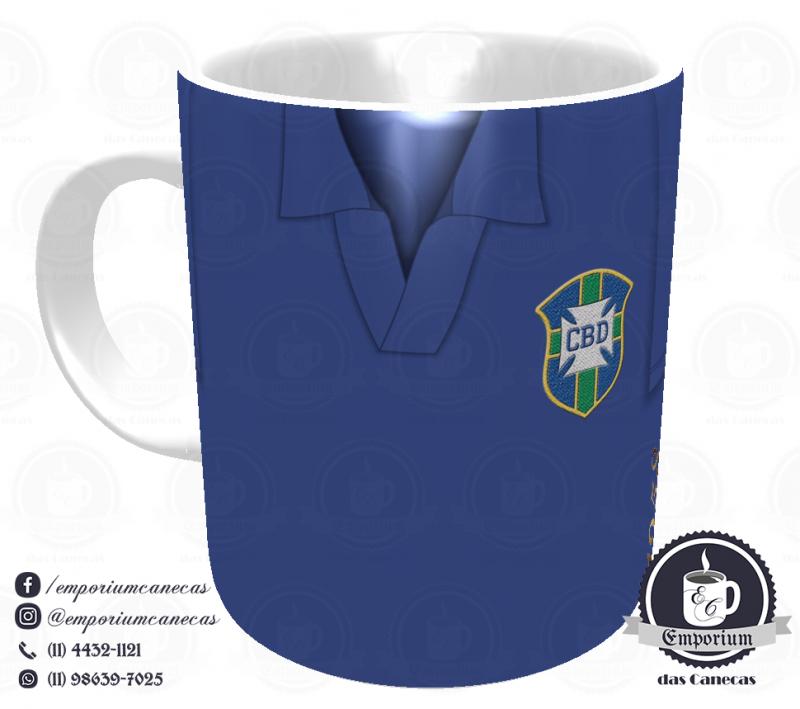 Caneca Seleção Brasileira - Camisa 1958 (Campeão Mundial) - Porcelana 325 ml