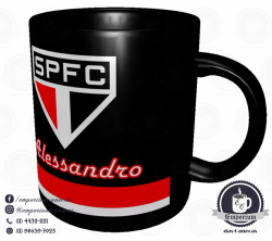 Caneca São Paulo FC - Preta - Personalizada - Porcelana 325 ml 2