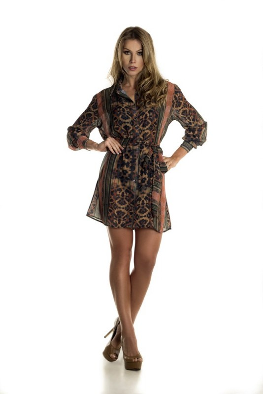 Chemise em chiffon estampa JUNGLE