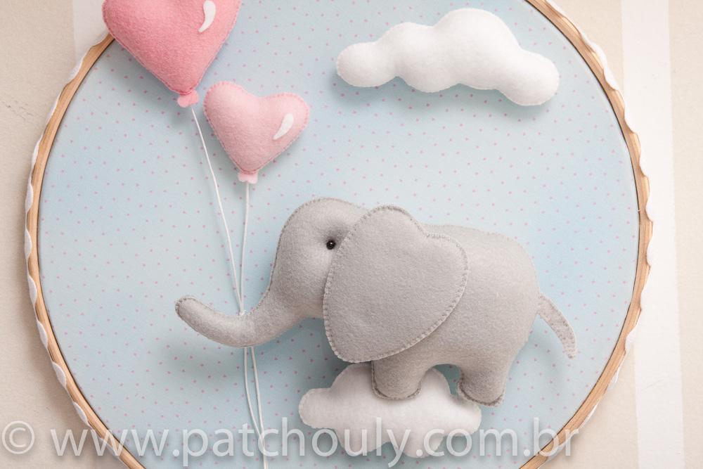 Enfeite de porta Elefante Azul com Coração