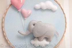 Enfeite de porta Elefante Azul com Coração 4
