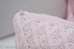 Almofada Retangular de Tricot Aran Rosa Pastel 3