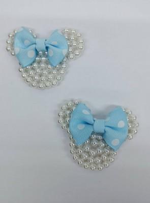 Carinha da Minnie Branca c/ Laço Azul Infantil