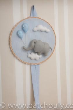 Enfeite de porta Elefante Azul com Balão 3
